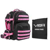 VISM® by NcSTAR® TACTICAL BACKPACK WITH 10″x12″ LEVEL IIIA SOFT BALLISTIC PANEL/ BLACK WITH PINK TRIM